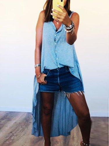 Blue Sleeveless Plain Cotton-Blend V Neck Shirts & Tops