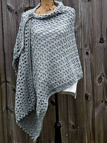 Gray Vintage Buttoned Knitted Scarves & Shawls