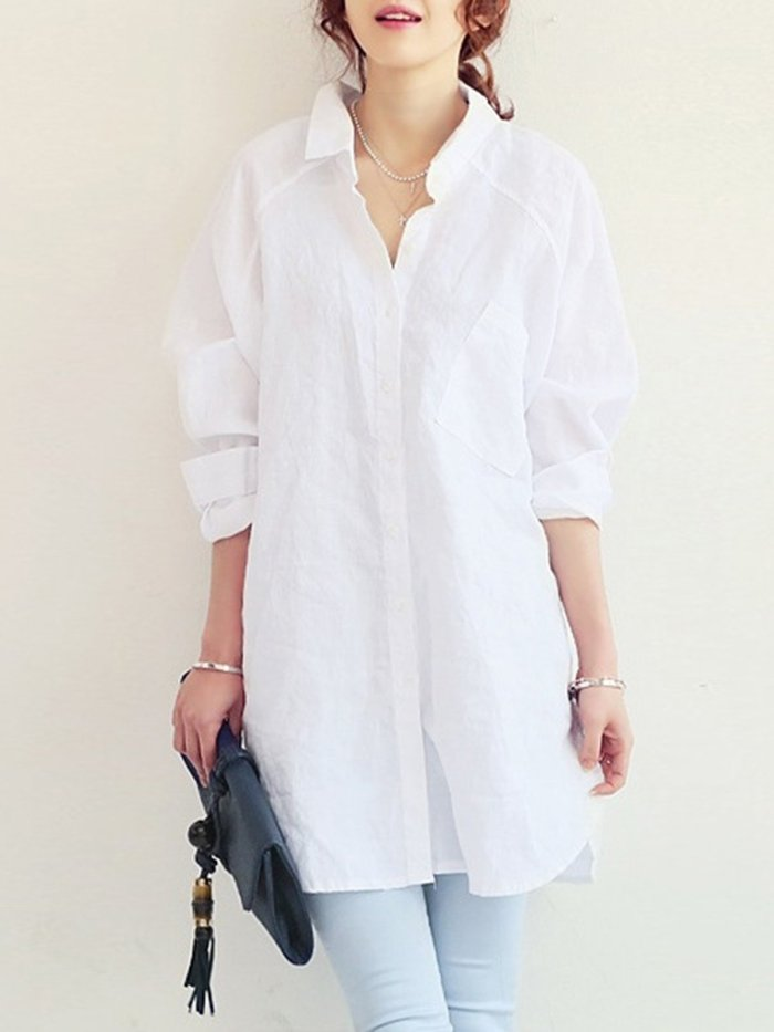 Solid Shirt Collar Linen Casual Blouse