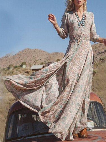 V-Neckline 3/4 Sleeves Maxi A-line Dress