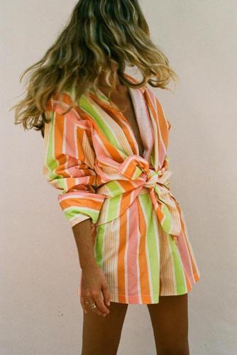 Rainbow Striped Shirt Shorts Set