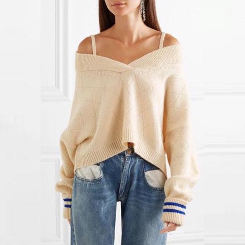 Sexy Spaghetti Straps Long Sleeve Knitting Fashion Sweaters