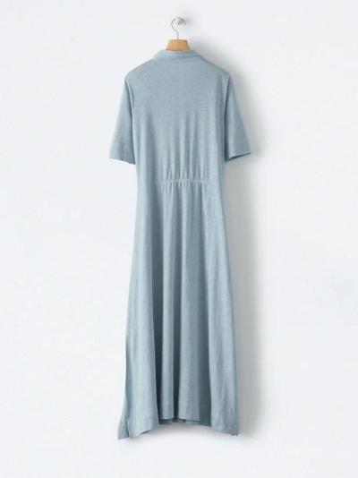 Blue Solid Cotton-Blend Shirt Collar Short Sleeve Dresses