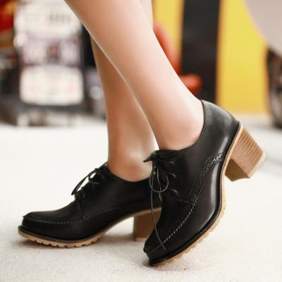 Women Daily Spring/Fall Lace-up PU Chunky Heel Boots