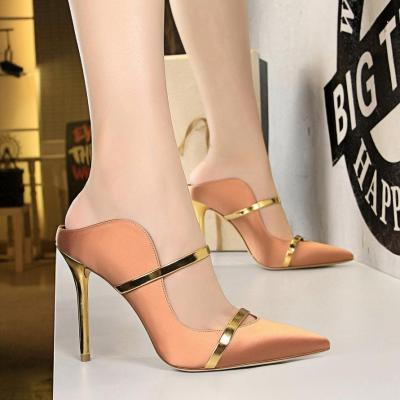 Summer Sexy Thin High-heeled Pointed Hollow Female Slippers Women Party Solid Slides Platform Shoes