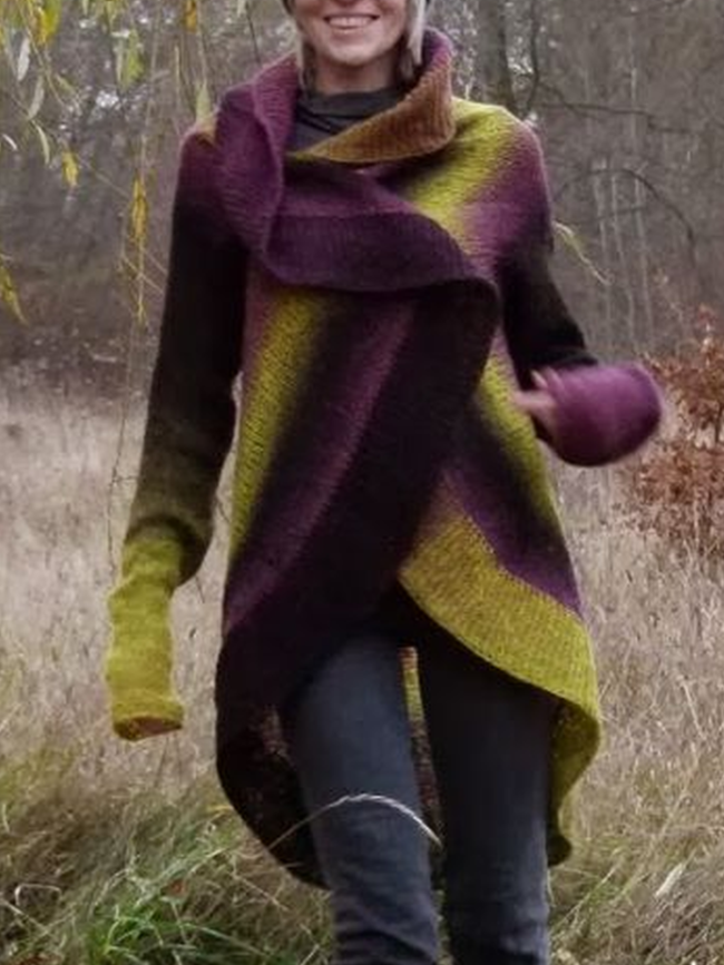 Vintage Long Sleeve Color-Block Patchwork Women's Cardigan
