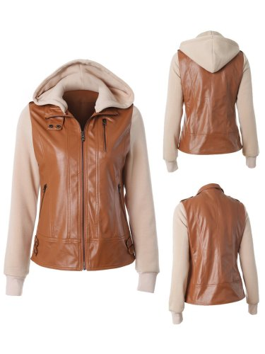 Detachable Cap Paneled Zipper Fashion Jacket