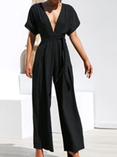 Black Casual Shift One-Pieces