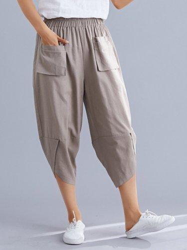 Plus Size Women Plain Casual Pants
