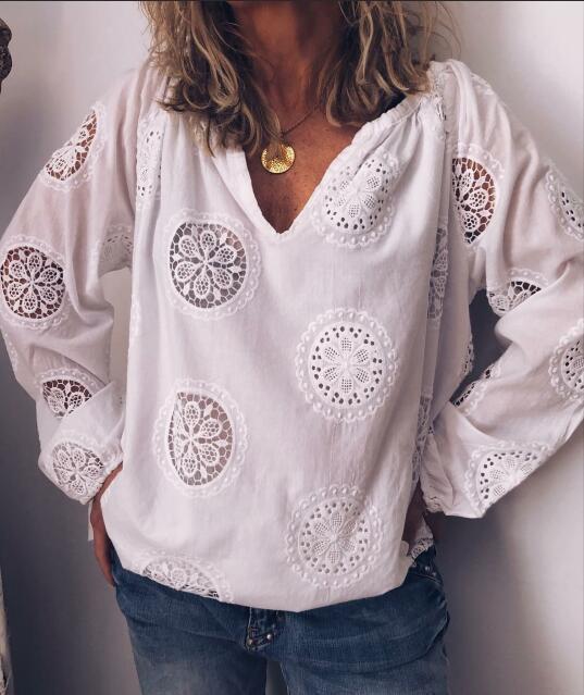 White Chiffon Long Sleeve Shirts & Tops
