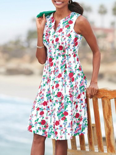Red Sweet Printed/dyed Sleeveless Dresses