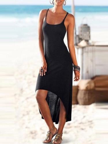 Spaghetti Strap  Cross Straps  Curved Hem  Plain Maxi Plus Size Dress