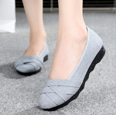 Plus Size Gray Flat Heel Spring/Fall Criss-cross Canvas Braided Loafers
