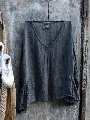 Casual Ruffled Solid Shirts & Tops