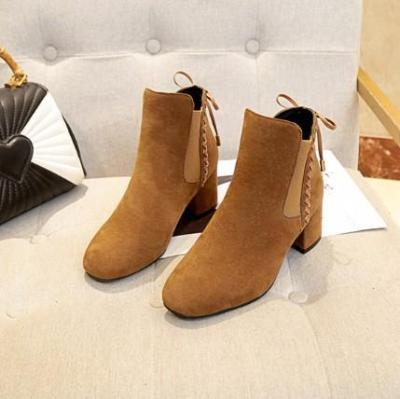 Women Chunky Heel Back Lace-up Suede Spring/Fall Daily Boots