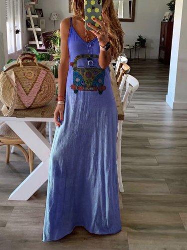 Summer Cotton-blend Sleeveless V-neck Casual Dresses