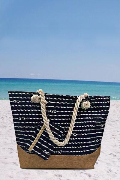 Women's Beach Casual Striped Zipper Canvas Tote Bag