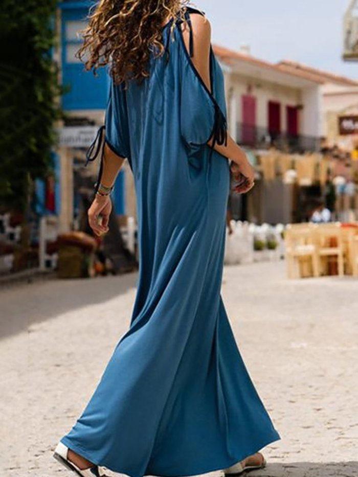 Blue Cold Shoulder Nylon Maxi Dress