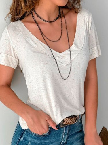 White Sexy V Neck Cotton-Blend Short Sleeve Shirts & Tops