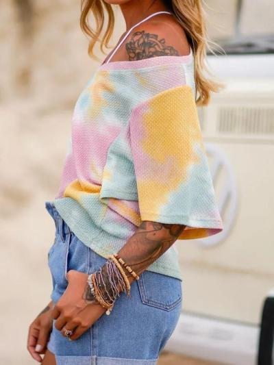 Multicolor Short Sleeve Simple Shirts & Tops