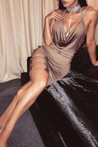 Spaghetti Strap  Plain Bodycon Dresses