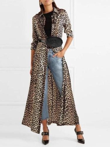 Fashion Leopard Lapel Long Sleeve Cardigan