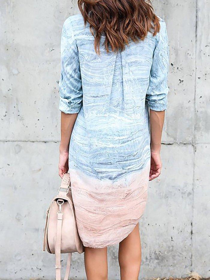 Half Sleeve Shift Shirt Collar Casual Dress