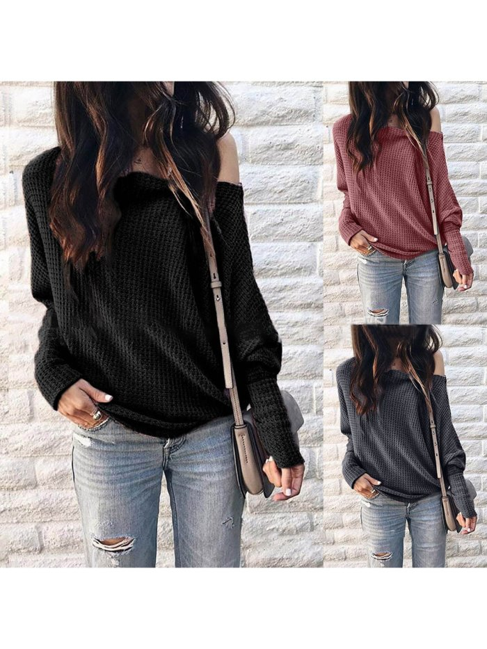 Long Sleeve Solid Knitted Vintage T-Shirts