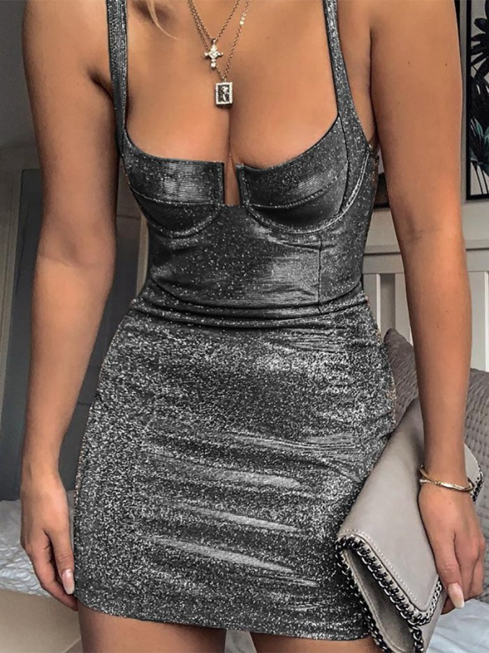 Sexy Sling Pure Colour Sleeveless Bodycon Dresses