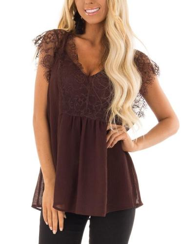 Lace Casual Short Sleeve Casual Tops