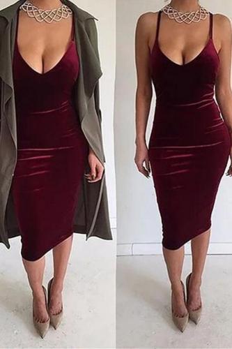 Sexy Deep V Sling Bare Back Velvet Bodycon Dresses