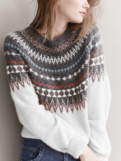 Color-Block Tribal Raglan Sleeve Sweaters