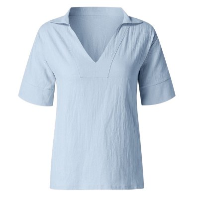 Plus Size Fashion Cotton Linen Blouse Sexy Loose V-Neck Tops Tee Casual Short Sleeve Blusas Pullover