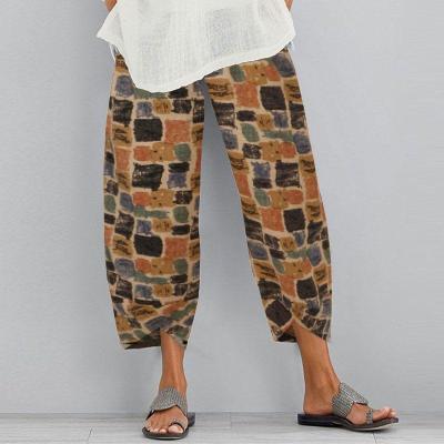 Summer Cotton Linen Trousers Floral Printed Pants Casual Elastic Waist Loose Pantalon Turnip