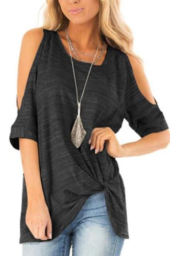 Cold Shoulder Twist Front Stripe T-shirt