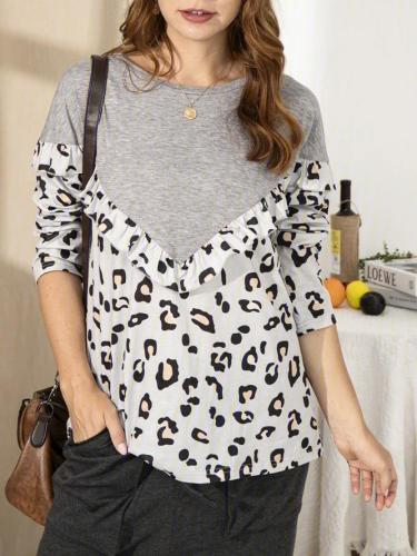 Shift Leopard Crew Neck Casual Shirts & Tops
