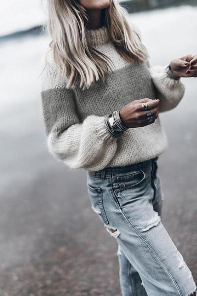 Classy Contrast Color Long Sleeve Sweater