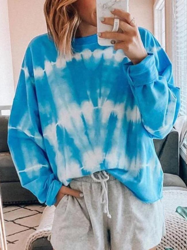Ombre/Tie-Dye Casual Cotton-Blend Shirts & Tops Sweatshits