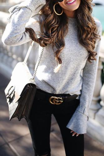 Trumpet Sleeve Solid Color Soft Elastic Sweater