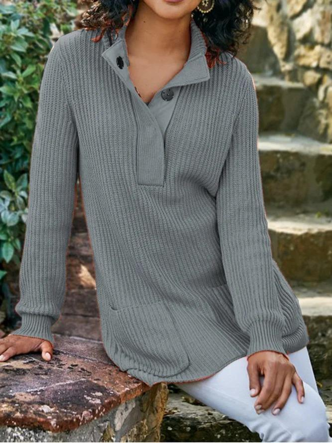 Women Shift Shawl Collar Plus Size Knitted Long Sleeve Sweaters