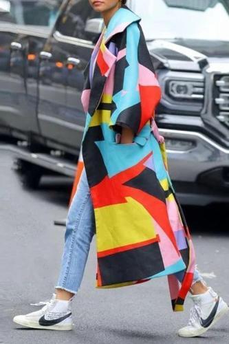 Fashion Multi Color Blocking Long Sleeve Coat