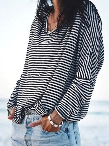 Casual Cotton Striped Shirts & Tops