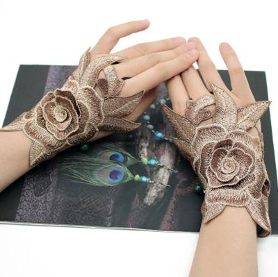 Women's sexy flower embroidery fingerless glove female spring summer national sexy glove R2072