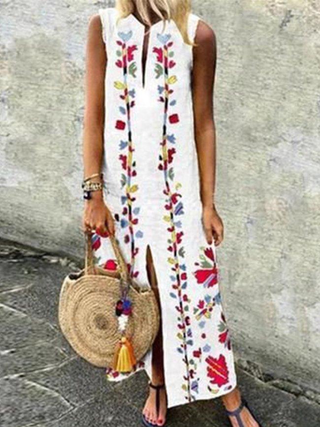 White Boho Cotton-Blend Sleeveless Dresses