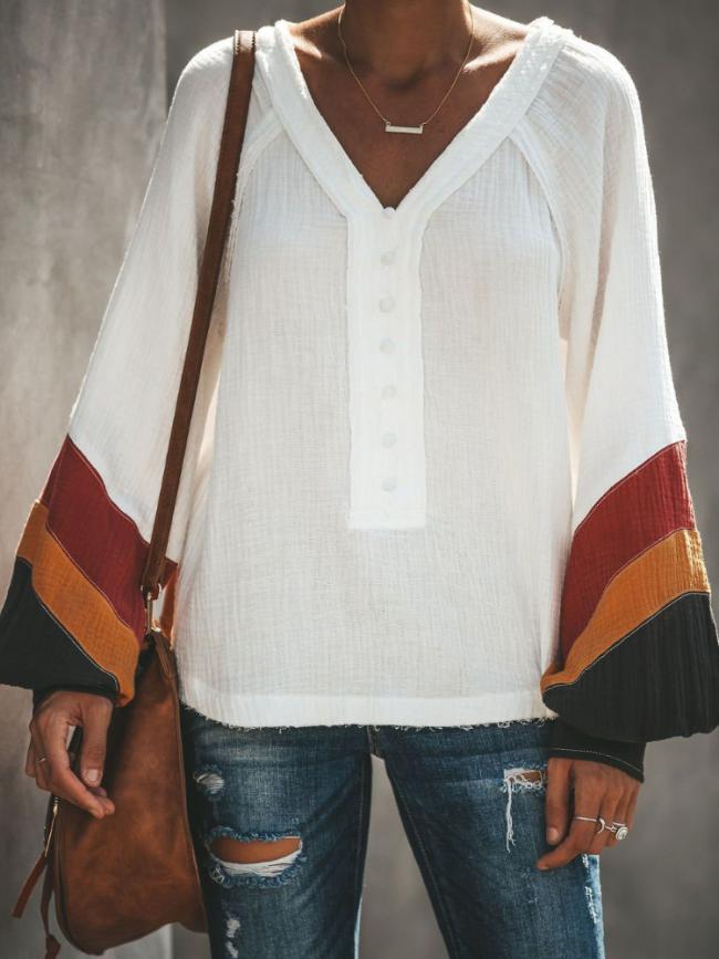 Paneled V Neck Bell Sleeve Casual Blouse&shirts