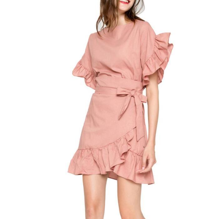 Women Summer Solid Color Cotton Dress Ruffles Patchwork Short Sleeve Slim Dress with Bow Belt