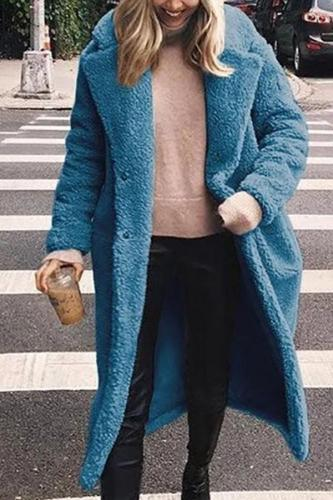 Fashion Lapel Long Sleeve Plain Fur Coats
