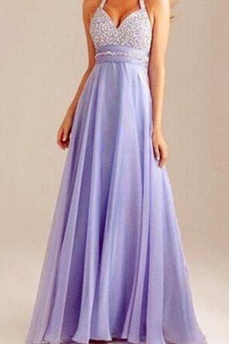 Elegant Noble Sexy Sleeveless Halter Evening Dress