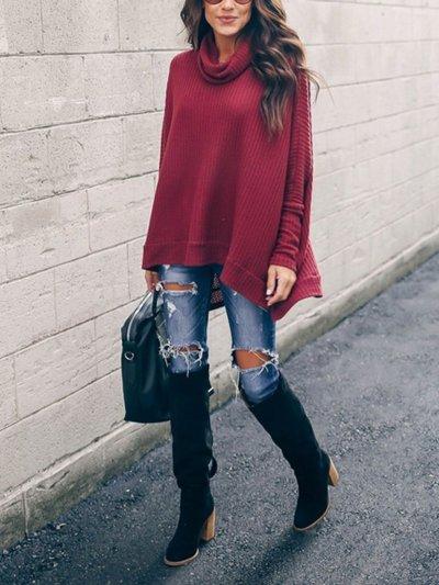 4 Colors Elegant Turtle Neck Paneled Knit Wear Sweaters