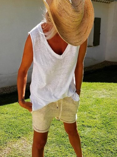Cotton-Blend Casual V Neck Shirts & Tops